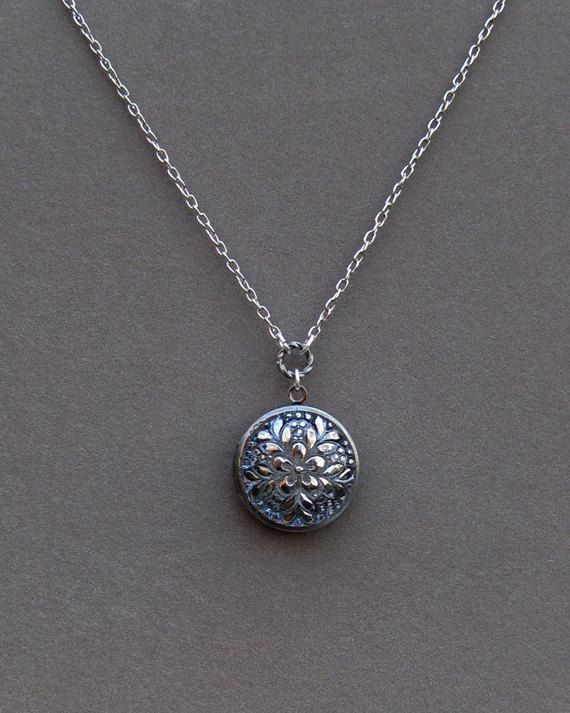 Silver Locket Necklace - Vintage Style Glass Button - Jewelry By envisage.