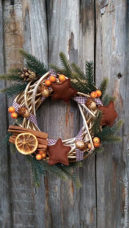 """Купить Венок на дверь """"Зимний вечер"""" - коричневый, венок на дверь, венок на стену, венок новогодний"""