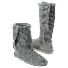 Knit Tall Bear Paw Boots in Grey