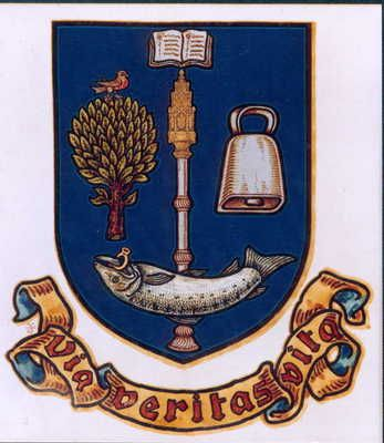 University of Glasgow's coat of arms; it depicts the legend of St Kentigern or Mungo, with the addition of the book of learning and the university mace; the saint's attributes shown here include a wild robin, a handbell, a tree and a fish with a ring in its mouth. (University of Glasgow)
