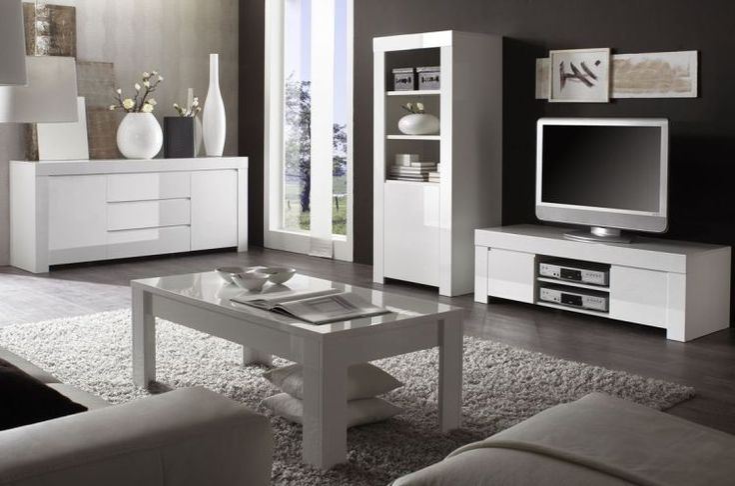 Woonprogramma Amalfi Moderne greeploze hoogglans witte meubels