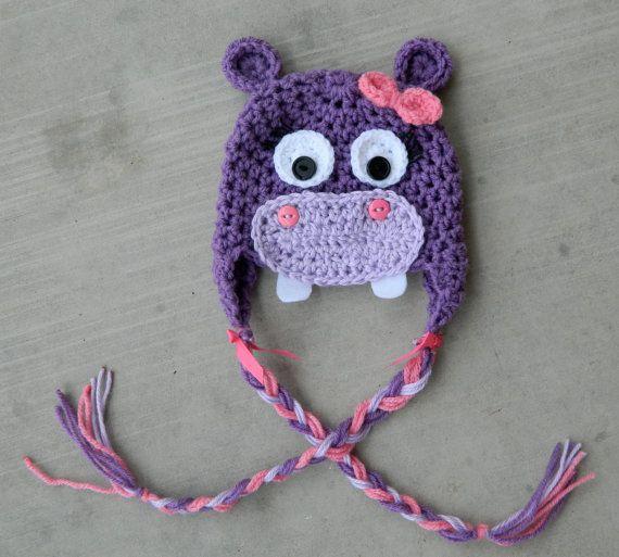 Handmade, crochet Purple and Pink Hippo Hat, Newborn Hat, Photo prop, Girl Hippo