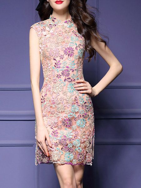 Shop Mini Dresses - Sleeveless Stand Collar Vintage Mini Dress online. Discover…