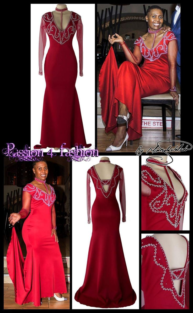 Deep red soft mermaid evening dress with long sleeves, A  V neckline back and front. Detailed in silver. #mariselaveludo #passion4fashion #promdress #eveningdress #reddress #eveningdress #softmermaid
