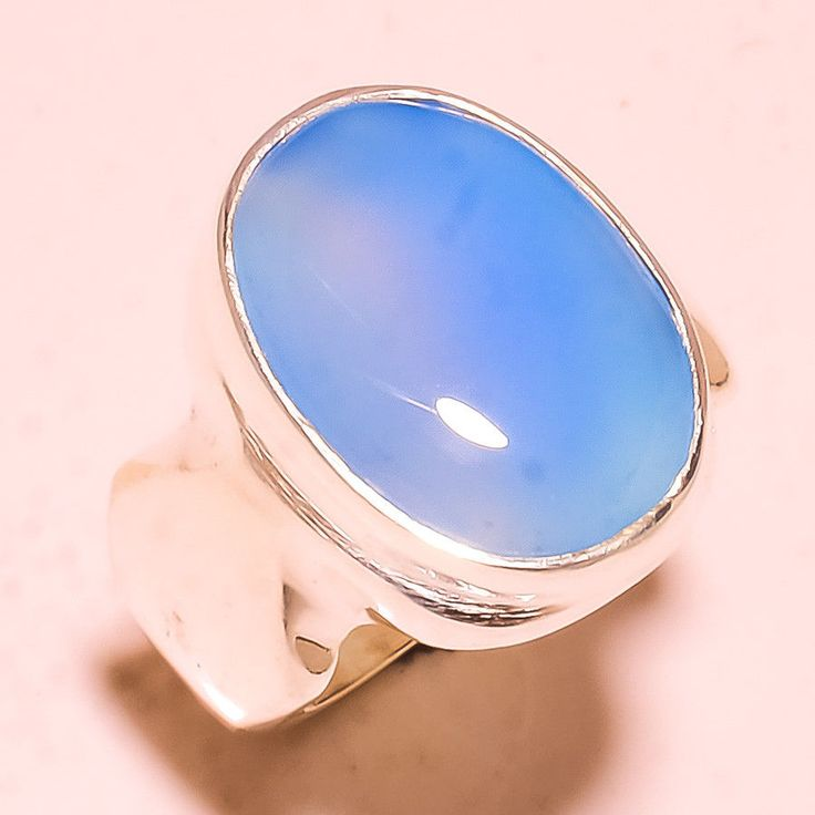 """Blue Chalcedony Unique Design For Friendship Gemstone Jewelry Ring S. 10.25""""  #Handmade #Cluster #chalcedony #handmade #sterling #cuteness #handcandy #CharmGift #giftideas #love #style  #gemstonejewelry #genuine #rare"""