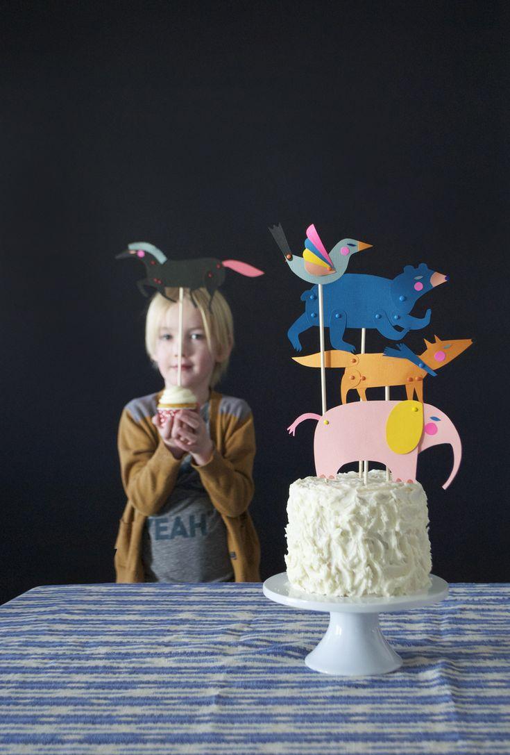 Animaux en papier pour égayer un gateau anniversaire