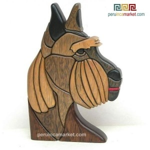 Wooden sculpture - statue Schnauser handcarved from ishpingo Amazon wood. Peruvian artwork. US $ 79.00 free shipping from peruincamarket