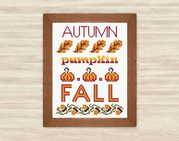 Buy 2 get 1 free Thanksgiving Cross Stitch Pattern pumpkin