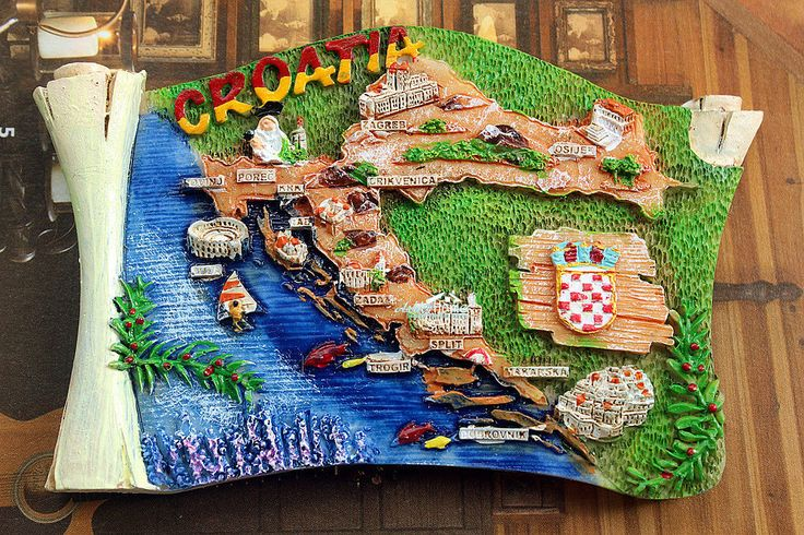 Map of Croatia, Tourist Travel Souvenir 3D Resin Decorative Fridge Refrigerator Magnet Craft GIFT