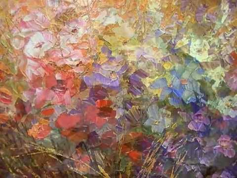 "Palette knife flower painting in progress by Tatiana Iliina ""A Fly in Sugar"". - YouTube"