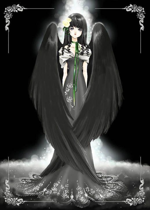 black angel with art nouveau style dress gothic black. Black Bedroom Furniture Sets. Home Design Ideas