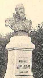 Statue d'Agrippa d'Aubigné, seigneur de Bry sous Archiac.- A sa grande horreur, son fils Constant d'Aubigné abjure le protestantisme en 1618 pour mener une vie de débauché dans le château paternel de Maillezais avant de tuer sa 1° femme, qu'il surprend en flagrant délit d'adultère dans une auberge, puis de se remarier en prison à Jeanne de Cardihac qui donna naissance à Françoise d'Aubigné, qui devint marquise de Maintenon, maîtresse puis épouse du roi de France Louis XIV