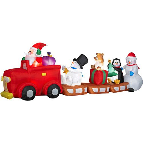 Inflatable santa and friends caravan christmas decor over
