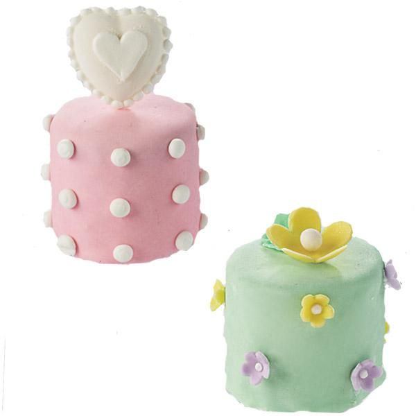 Perfect Petits Fours Mini Cakes - Add artistic patterns! Decorate compact, candy-covered cakes with perky piped icing dots and fondant hearts and flowers shaped using our Hearts Candy Mold and Flower Making Set.