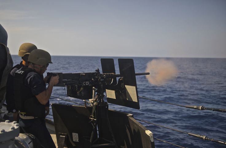 https://flic.kr/p/K5tTKN | 160713-N-QC631-367 | SOUTH CHINA SEA (July 13, 2016) A midshipman fires a .50 caliber machine gun during a fire exercise aboard the guided-missile destroyer USS Decatur (DDG 73). Decatur, along with guided-missile destroyers USS Momsen (DDG 92) and USS Spruance (DDG 111), are deployed in support of maritime security and stability in the Indo-Asia-Pacific as part of a U.S. 3rd Fleet Pacific Surface Action Group (PAC SAG) under Commander, Destroyer Squadron 31 (CDS…