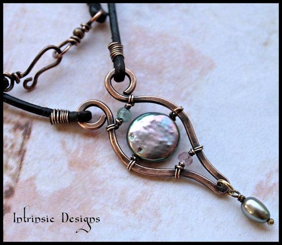Freshwater Pearl and Gemstone Reversible Leather by CathyHeery