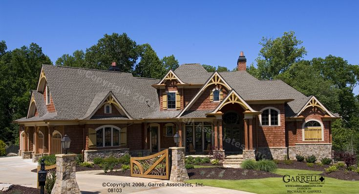 Garrell associates inc achasta house plan 08103 front for Rustic craftsman house plans