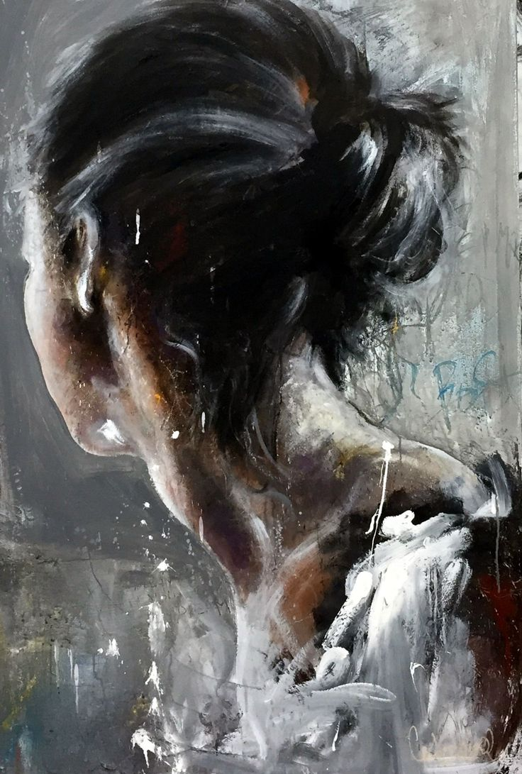 """Inside-Horizon"" - Cecile Desserle, oil on canvas {figurative expressionist art female head back profile woman portrait grunge textured painting} ceciledesserle.com"