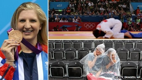 Clockwise from left: Team GB's Rebecca Adlington with her bronze medal, crowds at the ExCel with some empty seats and fans shelter from the rain during the dressage at Horse Guards Parade