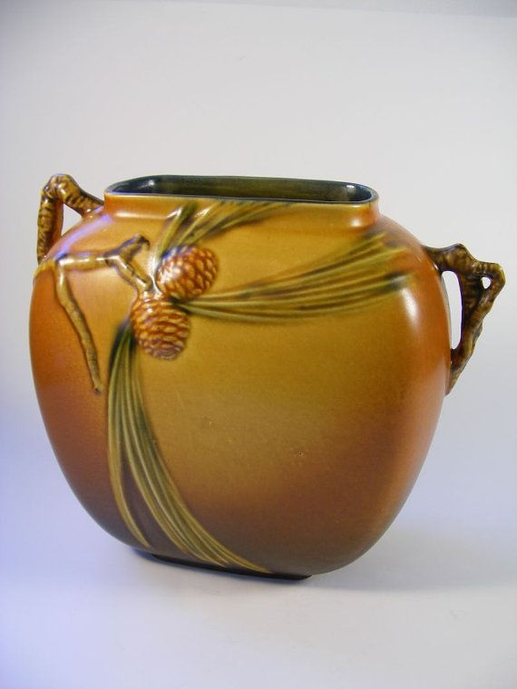 Exceptional Roseville Pine Cone Pillow Vase 1935