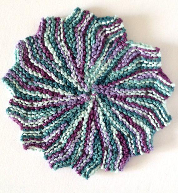 Hand Knit, Star Shaped, 100% Cotton Dishcloth/Trivet/Potholder (Teals & Purples)