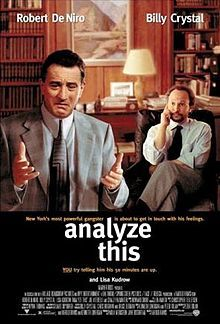 Analyze This is a 1999 gangster comedy film directed by Harold Ramis, who co-wrote the screenplay with playwright Kenneth Lonergan and Peter Tolan. The film stars Robert De Niro as a mafioso and Billy Crystal as his psychiatrist. A sequel, Analyze That, was released in 2002.