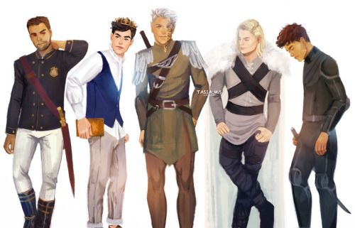 The Men from the Throne of Glass series [by tasiams] (Left to right: Chaol, Dorian, Rowan, Aedion, Sam) all my loves