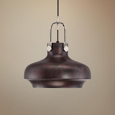 Create an industrial look in your decor with this loft-style pendant light with a worn bronze finish shade.