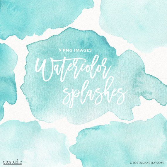 Watercolor Splashes Clipart Mint Blue Teal Turquoise