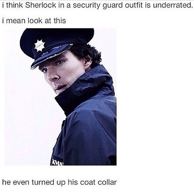 Sherlock as security guard- his attitude here is just phenomenal. One of my favorite scenes.