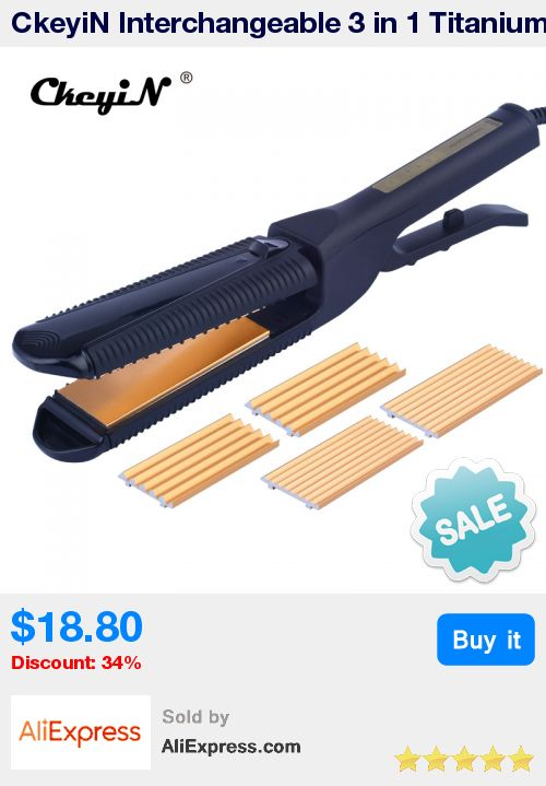 CkeyiN Interchangeable 3 in 1 Titanium Plate Hair Crimper Straightener Corn Waver Corrugated Curling Iron Temperature Control * Pub Date: 17:36 Oct 21 2017