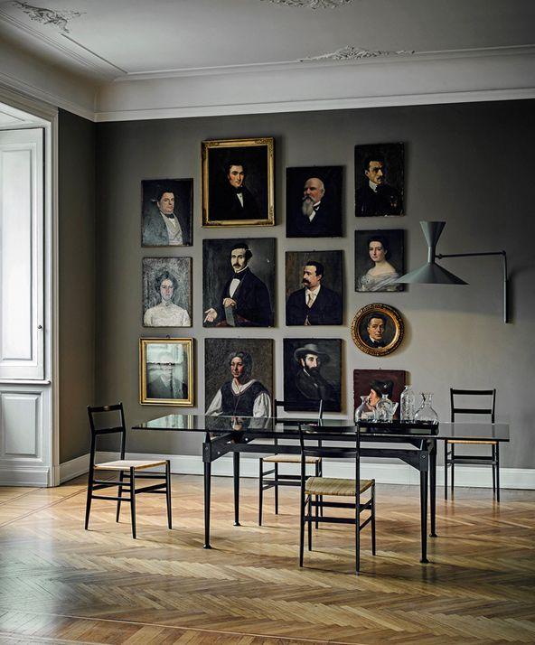 .Une très belle façon d'animer un mur à l'aide de vieux portraits chinés : la fausse galerie d'ancêtres !  Et où trouve-t'on d'anciens portraits peints sans se ruiner? A la Salle des Ventes du Particulier, bien sûr ! ;-)