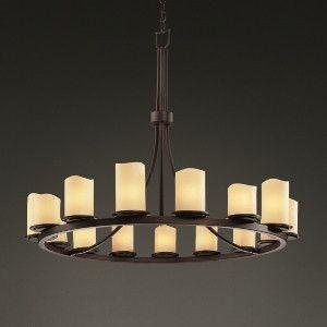 Justice Design Exclusive Lighting Store   Dakota 15-Light 1-Tier Ring Chandelier