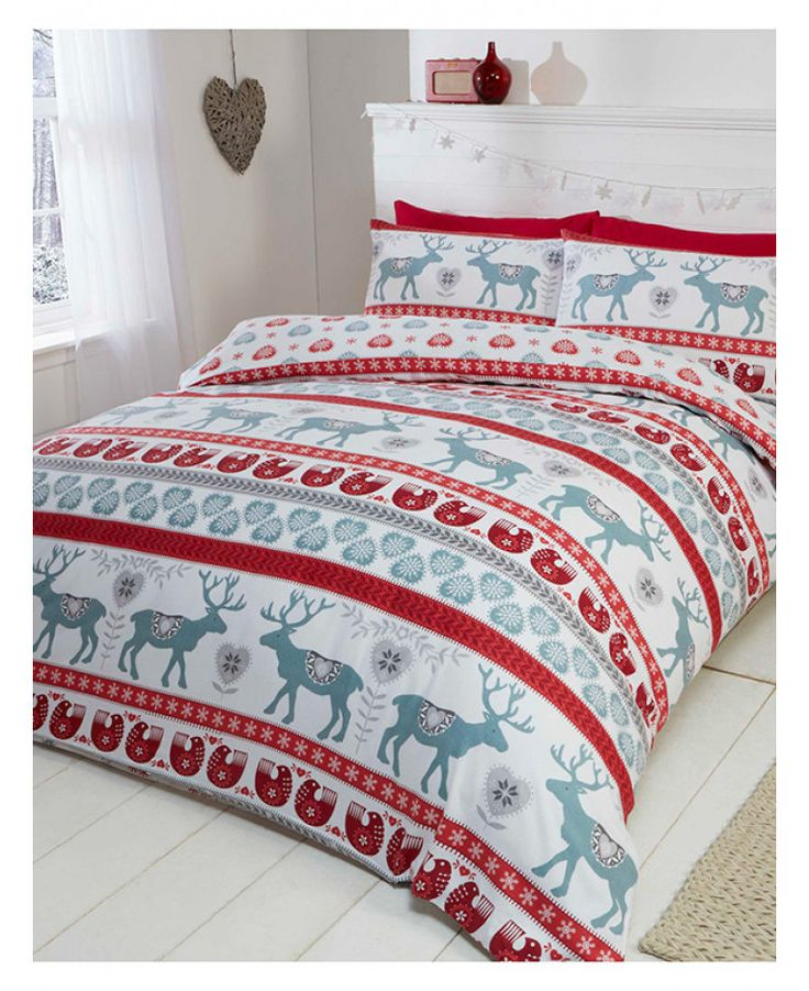 This beautiful Scandi Christmas Brushed Cotton Double Duvet Cover Set will add a touch of festive fun to any bedroom this Christmas! Free UK delivery available