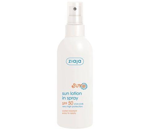 Protector solar en spray SPF 50+ UVA+UVB resistente al agua.  Protege contra los dañinos rayos UV, quemaduras solares, irritaciones de la piel y decoloraciones