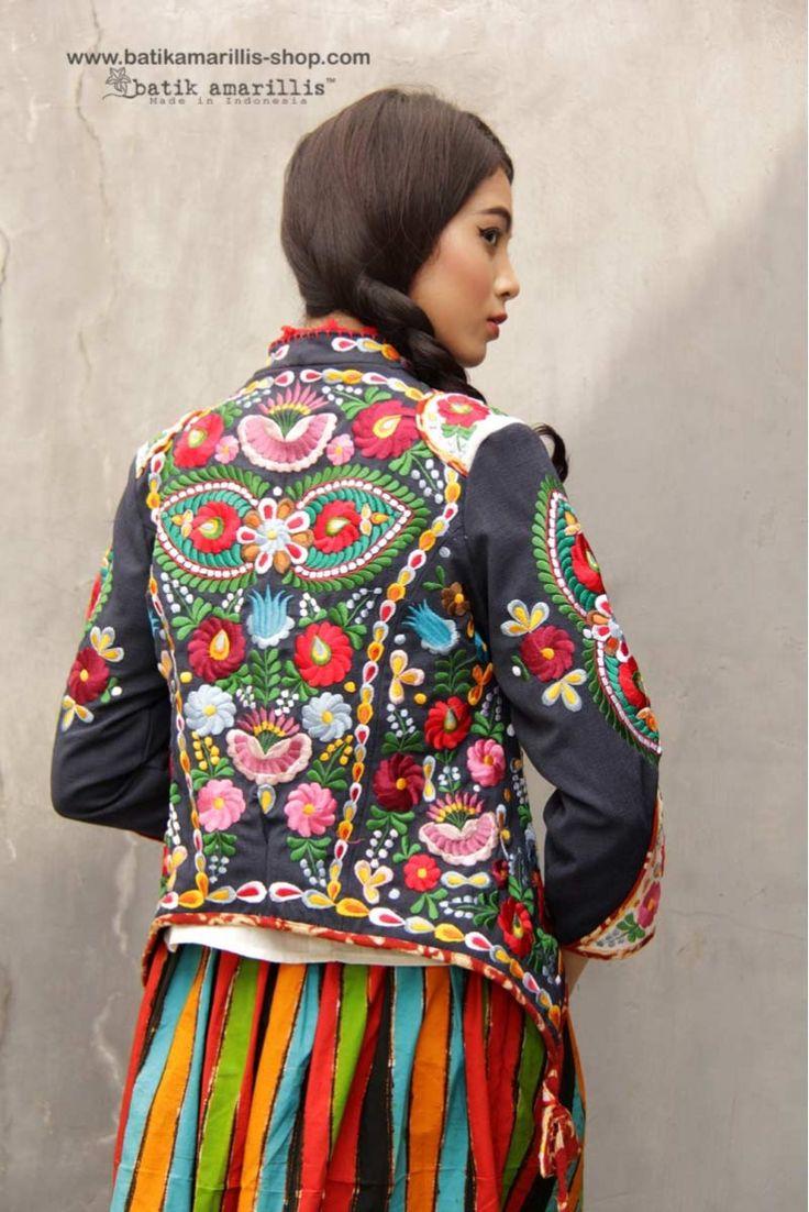 Batik Amarillis made in Indonesia Batik Amarillis's Batik Amarillis's Arcana jacket which features Hungarian's Matyo Embroidery inspired-Batik Amarillis webstore www.batikamarillis-shop.com