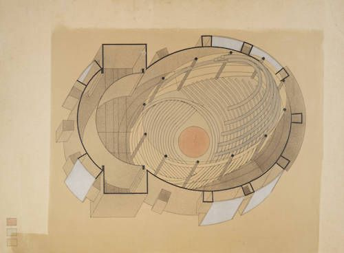 Walter Gropius (American, b. Germany, 1883-1969). Drawing by Stefan Sebök (Hungarian, 1904-1944). Isometric sectional view, Total-Theater, Berlin 1927