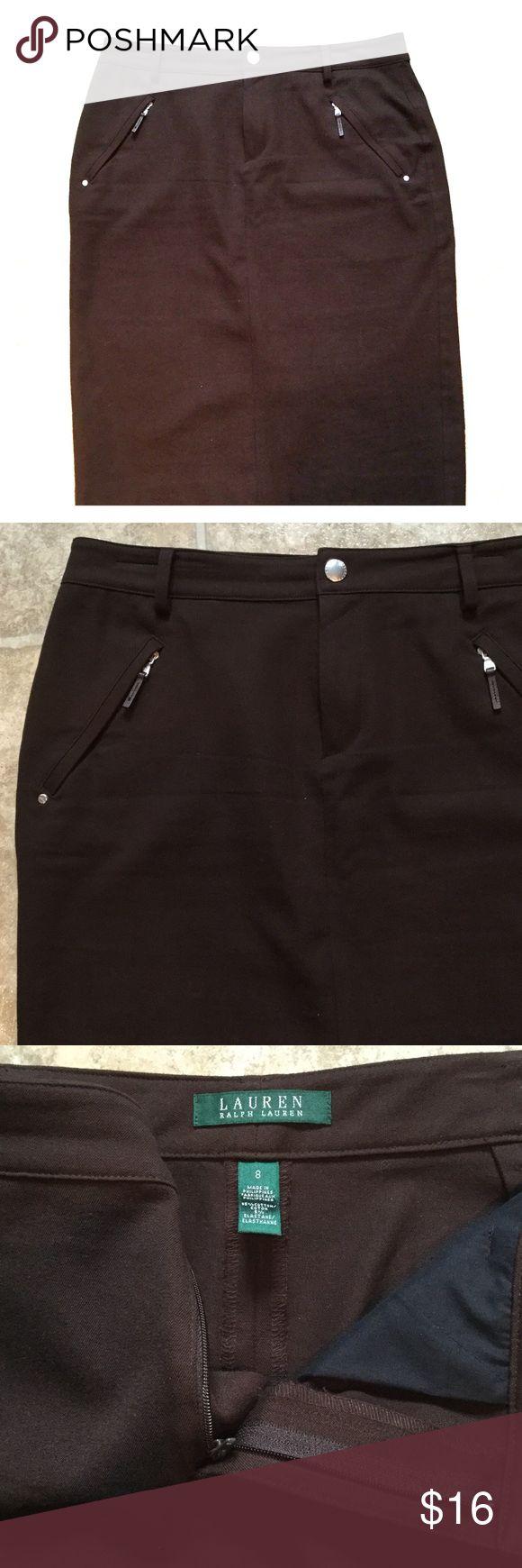 NEW 🌺 Lauren Ralph Lauren Stretch Skirt Lauren  great looking pencil stretch skirt in brown.  In great condition - cotton and spandex. Lauren Ralph Lauren Skirts Pencil