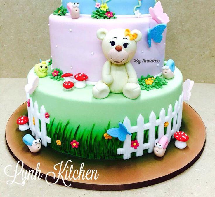 Teddy fondant cake Gau mushroom butterfly
