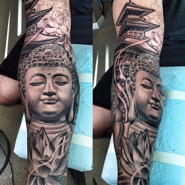 Amazing artist Lil B Hernandez @lilbtattoo forearm Buddha tattoo continued! #lilbtattoo #buddha #bud - emmataiyuan33
