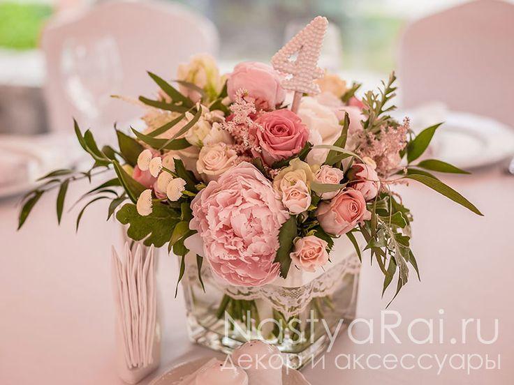 Свадебные композиции на столы гостей 17 NRFL430 по выгодной цене: 3 500 руб. — Купить флористика в интернет-магазине «Мы подарим»