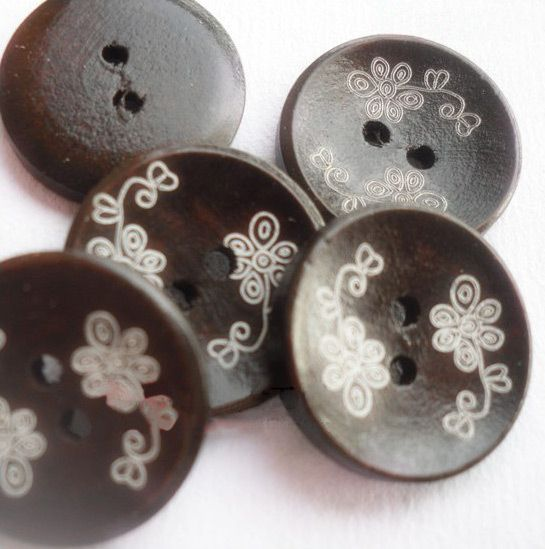 2-hole Flower Carved DIY Buttons, Wooden Buttons, Black Brown, 2