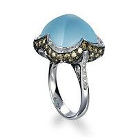 18k white gold ring set with blue topaz brown diamonds and diamonds engagement
