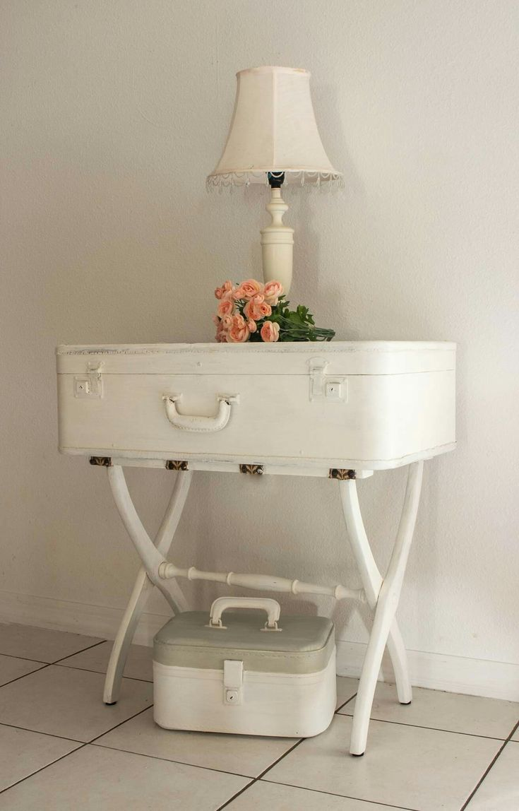 Vintage suitcase married to a luggage rack. Painted with white and linen  milk paint.