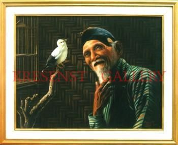 """OLD MAN AND BIRD"" #Creative #Art in #painting @Touchtalent http://bit.ly/Touchtalent-p"