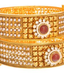 Buy Radiant and Refreshing Gold Pearl Designer Bangle (Openable). bangles-and-bracelet online