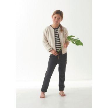 Ecru/grijs gestreepte sweater met strikje - Mister Monkey and Misses Butterfly - Little Label - AW16 - Girls - Sweater - Stripes