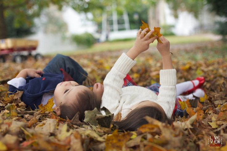 fall family portrait poses, siblings laying amongst colorful fall leaves