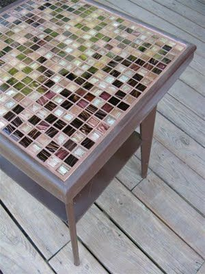 DIY Girl: Tiling a table top: a Salvation Army side table gets upcycled big time!