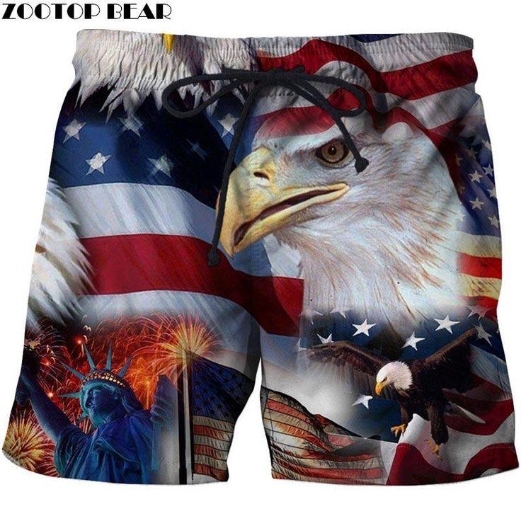 USA Beach Shorts Men Casual Board Shorts Plage Vacation Quick Dry Shorts Swimwear Streetwear DropShip ZOOTOP BEAR